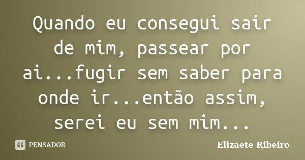 Quando eu consegui sair de mim, passear por ai...fugir sem saber para onde ir...então assim, serei eu sem mim...... Frase de Elizaete Ribeiro.