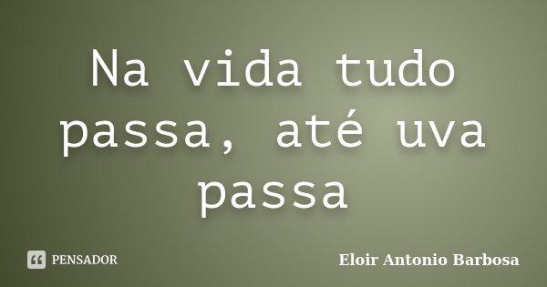 Na vida tudo passa, até uva passa... Frase de Eloir Antonio Barbosa.