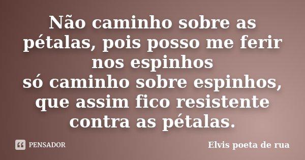 Não caminho sobre as pétalas, pois posso me ferir nos espinhos só caminho sobre espinhos, que assim fico resistente contra as pétalas.... Frase de Elvis poeta de rua.