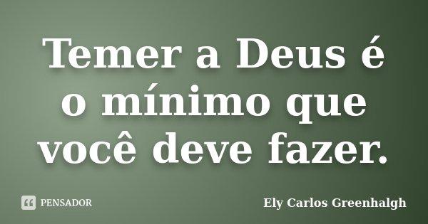 Temer a Deus é o mínimo que você deve fazer.... Frase de Ely Carlos Greenhalgh.