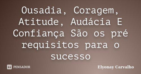 Ousadia, Coragem, Atitude, Audácia E Confiança São os pré requisitos para o sucesso... Frase de Elyonay Carvalho.