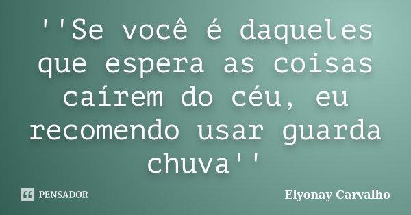 ''Se você é daqueles que espera as coisas caírem do céu, eu recomendo usar guarda chuva''... Frase de Elyonay Carvalho.