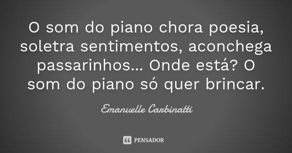 O som do piano chora poesia, soletra sentimentos, aconchega passarinhos... Onde está? O som do piano só quer brincar.... Frase de Emanuelle Carbinatti.