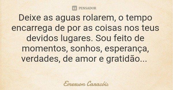 Deixe as aguas rolarem, o tempo encarrega de por as coisas nos teus devidos lugares. Sou feito de momentos, sonhos, esperança, verdades, de amor e gratidão...... Frase de Emerson Caracóis.