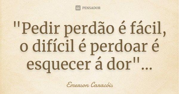 """""""Pedir perdão é fácil, o difícil é perdoar é esquecer á dor""""...... Frase de Emerson Caracóis."""