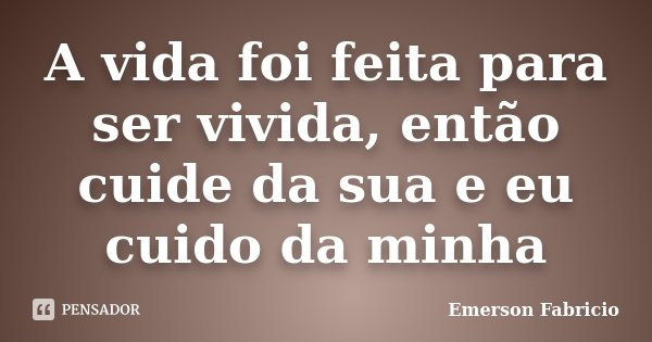 A vida foi feita para ser vivida, então cuide da sua e eu cuido da minha... Frase de Emerson Fabricio.