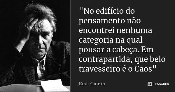 """""""No edifício do pensamento não encontrei nenhuma categoria na qual pousar a cabeça. Em contrapartida, que belo travesseiro é o Caos""""... Frase de Emil Cioran."""