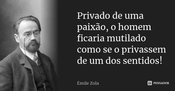 Privado de uma paixão, o homem ficaria mutilado como se o privassem de um dos sentidos!... Frase de Émile Zola.