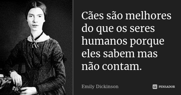 Cães são melhores do que os seres humanos porque eles sabem mas não contam.... Frase de Emily Dickinson.