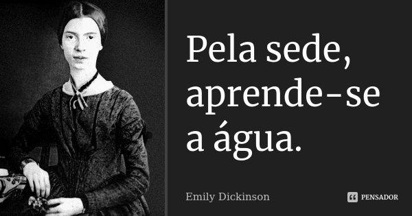 Pela sede, aprende-se a água.... Frase de Emily Dickinson.
