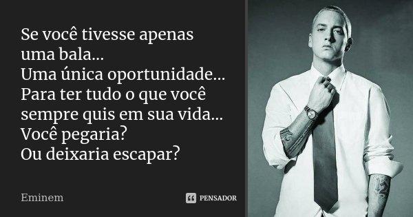 Se você tivesse apenas uma bala... Uma única oportunidade... Para ter tudo o que você sempre quis em sua vida... Você pegaria? Ou deixaria escapar?... Frase de Eminem.