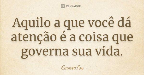Aquilo a que você dá atenção é a coisa que governa sua vida.... Frase de Emmet Fox.