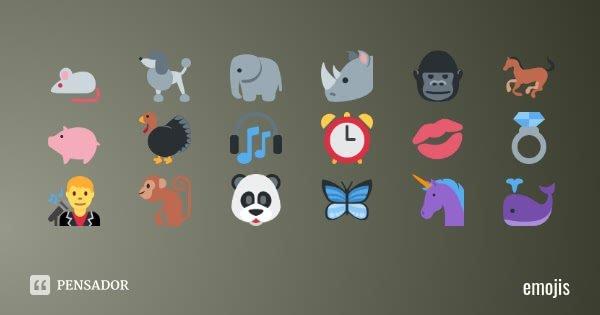 🐁 🐩 🐘 🦏 🦍 🐎 🐖 🦃 🎧 ⏰ 💋 💍 👨🎤 🐒 🐼 🦋 🦄 🐳... Frase de emojis.
