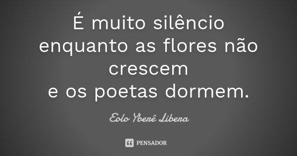 É muito silêncio enquanto as flores não crescem e os poetas dormem.... Frase de Eolo Yberê Libera.