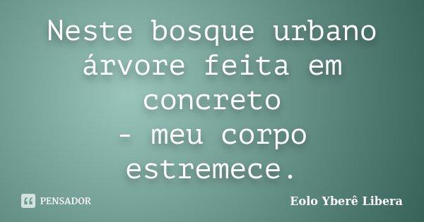 Neste bosque urbano árvore feita em concreto - meu corpo estremece.... Frase de Eolo Yberê Libera.
