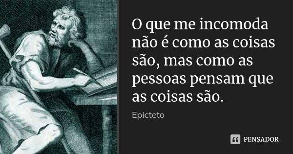 O que me incomoda não é como as coisas são, mas como as pessoas pensam que as coisas são.... Frase de Epicteto.