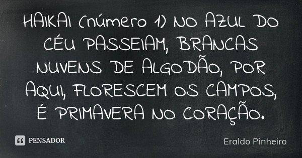 HAIKAI (número 1) NO AZUL DO CÉU PASSEIAM, BRANCAS NUVENS DE ALGODÃO, POR AQUI, FLORESCEM OS CAMPOS, É PRIMAVERA NO CORAÇÃO.... Frase de Eraldo Pinheiro.