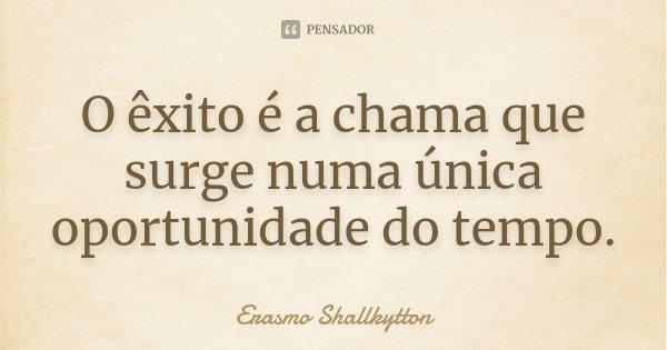 O êxito é a chama que surge numa única oportunidade do tempo.... Frase de Erasmo Shallkytton.