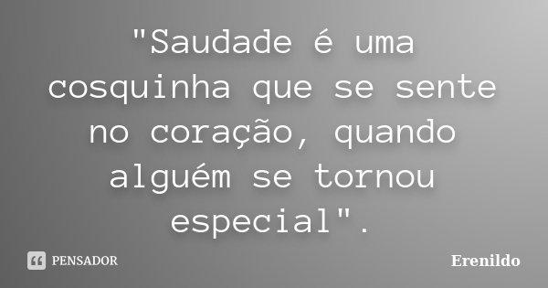 """""""Saudade é uma cosquinha que se sente no coração, quando alguém se tornou especial"""".... Frase de Erenildo."""