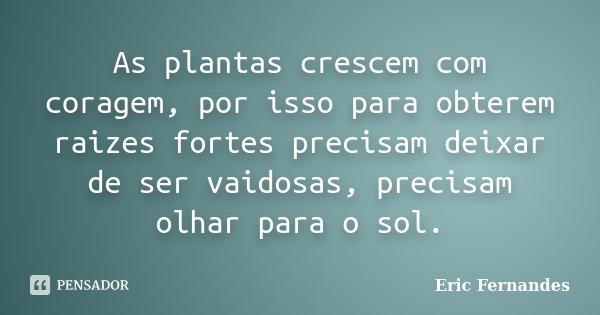 As plantas crescem com coragem, por isso para obterem raizes fortes precisam deixar de ser vaidosas, precisam olhar para o sol.... Frase de Eric Fernandes.
