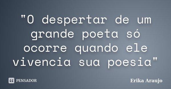 """""""O despertar de um grande poeta só ocorre quando ele vivencia sua poesia""""... Frase de Erika Araujo."""