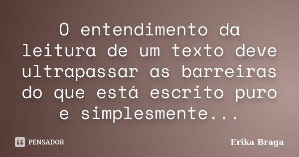 O entendimento da leitura de um texto deve ultrapassar as barreiras do que está escrito puro e simplesmente...... Frase de Erika Braga.