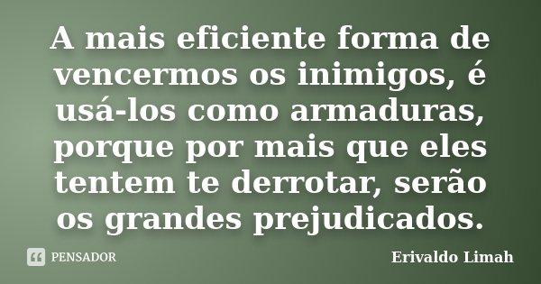 A mais eficiente forma de vencermos os inimigos, é usá-los como armaduras, porque por mais que eles tentem te derrotar, serão os grandes prejudicados.... Frase de Erivaldo Limah.