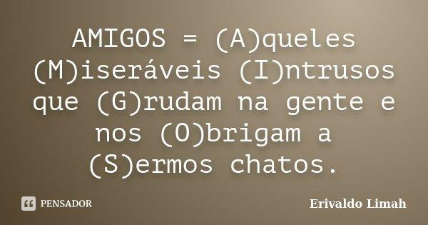 AMIGOS = (A)queles (M)iseráveis (I)ntrusos que (G)rudam na gente e nos (O)brigam a (S)ermos chatos.... Frase de Erivaldo Limah.