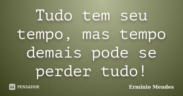 Tudo tem seu tempo, mas tempo demais pode se perder tudo!... Frase de Erminio Mendes.