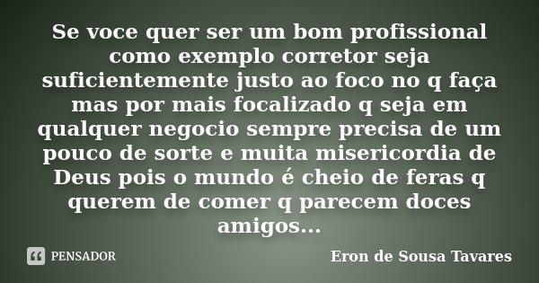 Se Voce Quer Ser Um Bom Profissional... Eron De Sousa Tavares