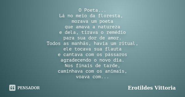 O Poeta... Lá no meio da floresta, morava um poeta que amava a natureza e dela, tirava o remédio para sua dor de amor. Todos as manhãs, havia um ritual, ele toc... Frase de erotildes vittoria.