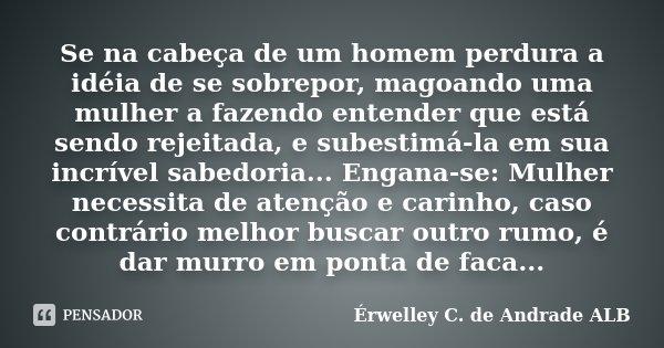 Se na cabeça de um homem perdura a idéia de se sobrepor, magoando uma mulher a fazendo entender que está sendo rejeitada, e subestimá-la em sua incrível sabedor... Frase de Érwelley C. de Andrade ALB.