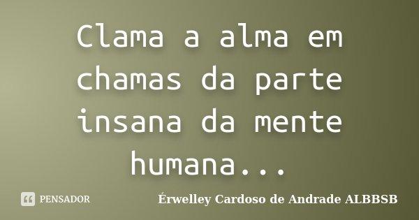 Clama a alma em chamas da parte insana da mente humana...... Frase de Érwelley Cardoso de Andrade ALBBSB.