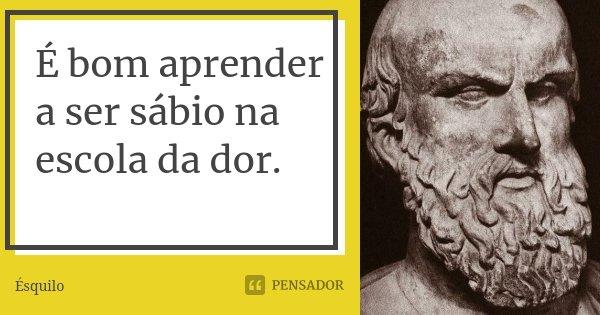 É bom aprender a ser sábio na escola da dor.... Frase de Ésquilo.