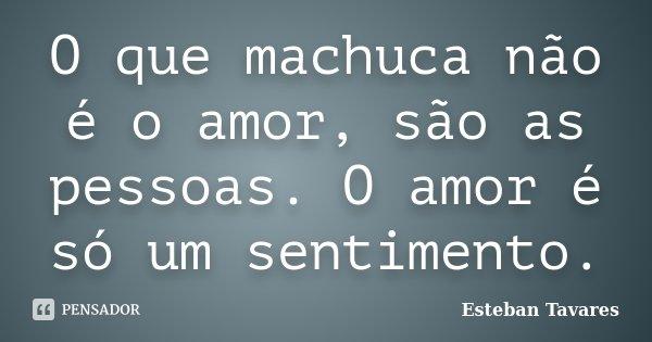 O que machuca não é o amor, são as pessoas. O amor é só um sentimento.... Frase de Esteban Tavares.