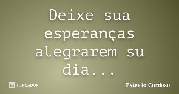 Deixe sua esperanças alegrarem su dia...... Frase de Estevão Cardoso.