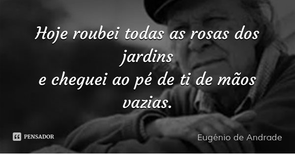 Hoje roubei todas as rosas dos jardins e cheguei ao pé de ti de mãos vazias.... Frase de Eugénio de Andrade.