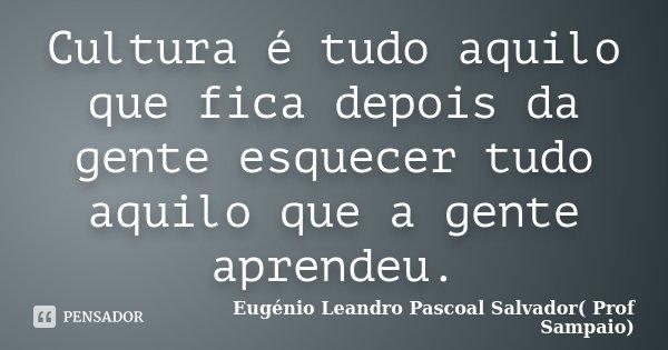 Cultura é tudo aquilo que fica depois da gente esquecer tudo aquilo que a gente aprendeu.... Frase de Eugénio Leandro Pascoal Salvador( Prof Sampaio).