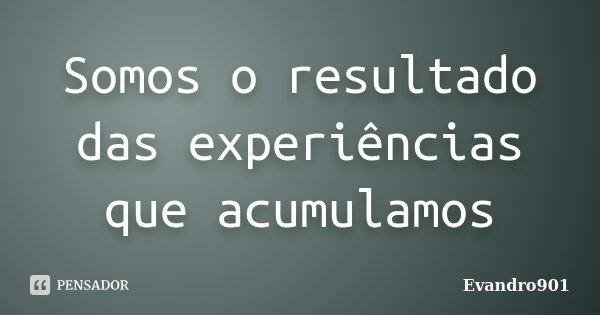 Somos o resultado das experiências que acumulamos... Frase de Evandro901.