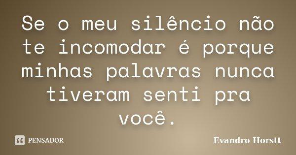 Se o meu silêncio não te incomodar é porque minhas palavras nunca tiveram senti pra você.... Frase de Evandro Horstt.