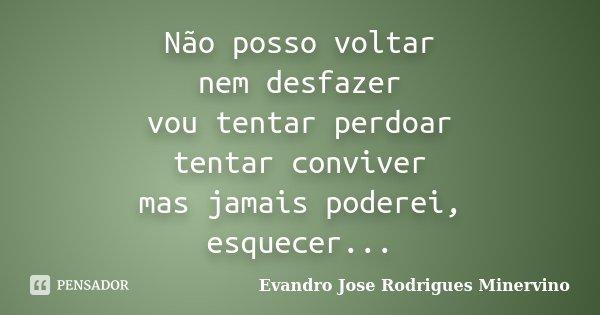 Não posso voltar nem desfazer vou tentar perdoar tentar conviver mas jamais poderei, esquecer...... Frase de Evandro Jose Rodrigues Minervino.