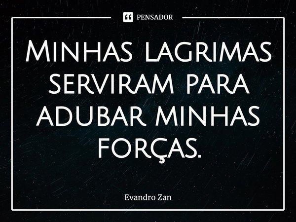 Minhas lagrimas serviram para adubar minhas forças.... Frase de Evandro Zan.