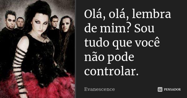 Olá, olá, lembra de mim? Sou tudo que você não pode controlar.... Frase de Evanescence.