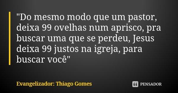 """""""Do mesmo modo que um pastor, deixa 99 ovelhas num aprisco, pra buscar uma que se perdeu, Jesus deixa 99 justos na igreja, para buscar você""""... Frase de Evangelizador: Thiago Gomes."""