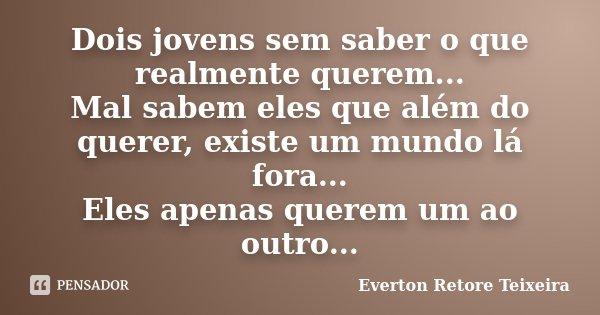 Dois jovens sem saber o que realmente querem... Mal sabem eles que além do querer, existe um mundo lá fora... Eles apenas querem um ao outro...... Frase de Everton Retore Teixeira.