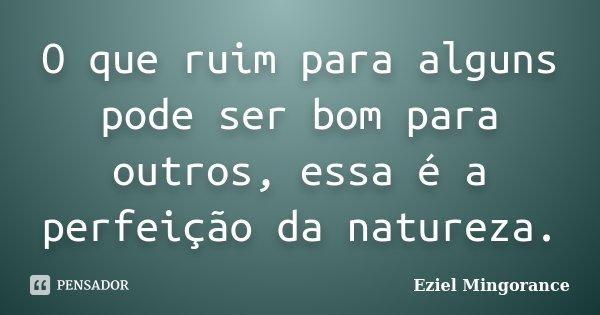O que ruim para alguns pode ser bom para outros, essa é a perfeição da natureza.... Frase de Eziel Mingorance.