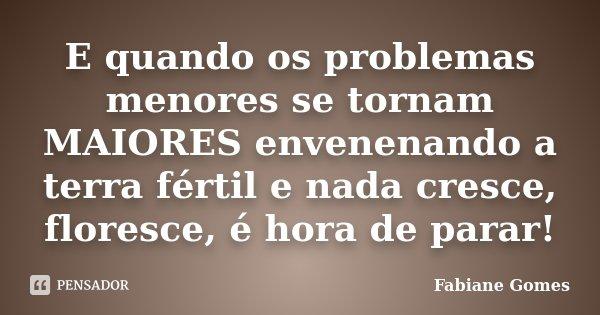 E quando os problemas menores se tornam MAIORES envenenando a terra fértil e nada cresce, floresce é hora de parar!... Frase de Fabiane Gomes.
