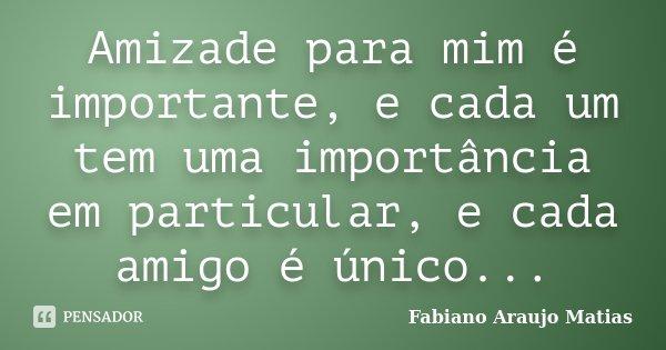 'Amizade para mim é importante, e cada um tem uma importancia em particular, e cada amigo é unico...... Frase de Fabiano Araujo Matias.