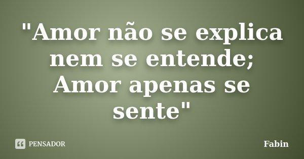 """""""Amor não se explica nem se entende; Amor apenas se sente""""... Frase de Fabin."""