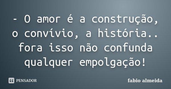 - O amor é a construção, o convívio, a história.. fora isso não confunda qualquer empolgação!... Frase de Fabio Almeida.